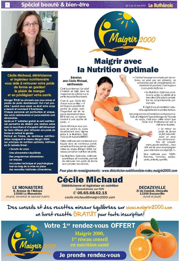 Maigrir avec la Nutrition Optimale - journal Le Ruthenois